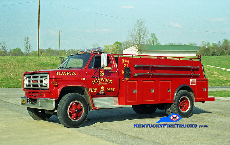 <center> Haywood  Tanker 51 <br> 1983 GMC 7000/Wimpees Welding 250/1500 <br> Kent Parrish photo </center>
