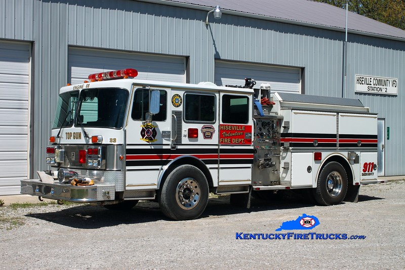 <center> Hiseville  Engine 33 <br> x-Reisterstown, MD <br> 1987 Pemfab Imperial/Grumman 1000/650 <br> Kent Parrish photo </center>