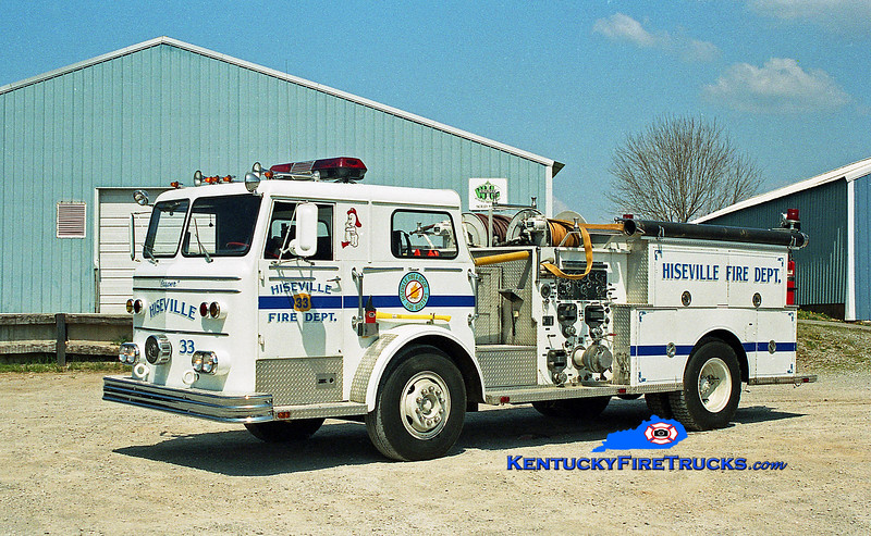 <center> RETIRED <br> Hiseville  Engine 33 <br> 1969 Maxim F 1000/1000 <br> Kent Parrish photo </center>