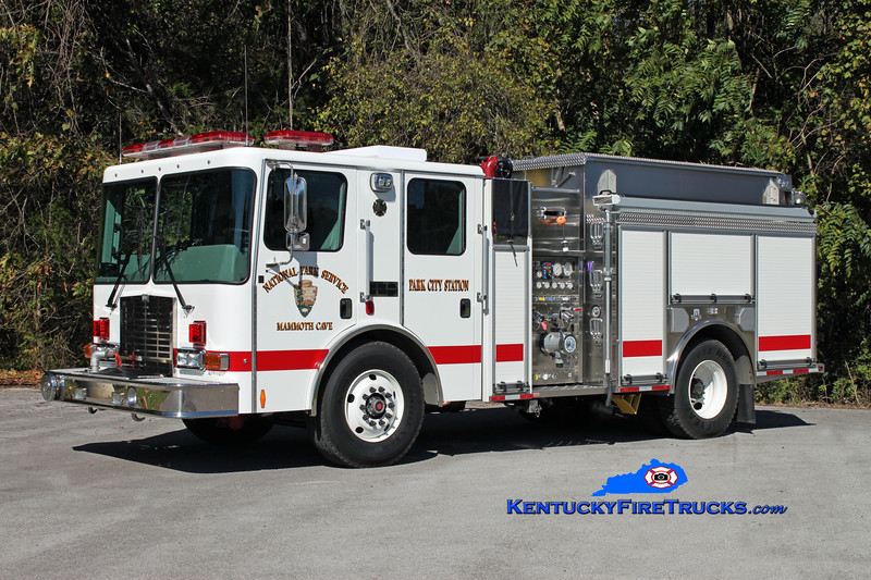 <center> Mammoth Cave National Park/Park City  Engine 101 <br> 2011 HME Type I 1250/850/30 <br> Kent Parrish photo </center>