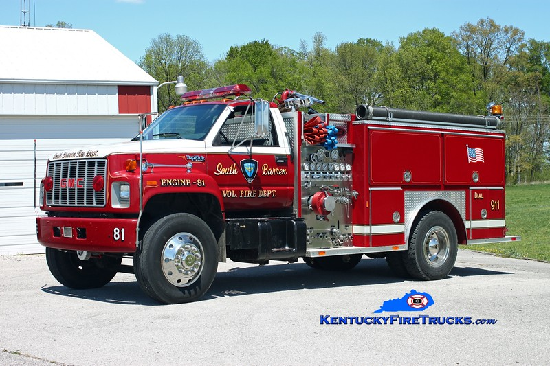 <center> South Barren  Engine 81 <br> x-Baggaley Twp, PA <br> 1992 GMC TopKick/E-One 1250/750 <br> Kent Parrish photo </center>