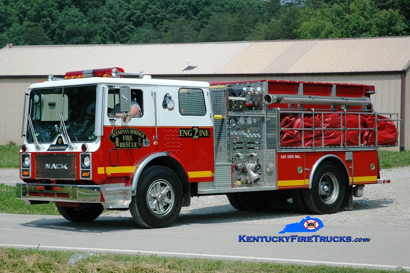 <center> Olympian Springs  Engine 2 <br> x-Logansville, PA <br> 1989 Mack MC/4 Guys 1500/1500  <br> Greg Stapleton photo </center>