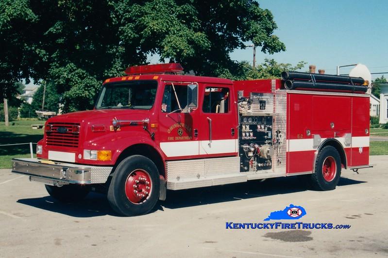 <center> Owingsville   Engine 2 <br> 2002 International 4900/Pierce 1250/1000 <br> Greg Stapleton photo </center>