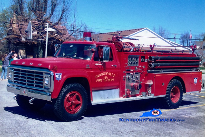 <center> Owingsville   Engine 3 <br> 1975 Ford F-700/Sutphen 750/500  <br> Greg Stapleton photo </center>