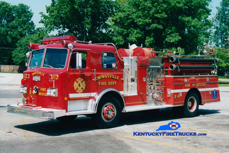 <center> RETIRED <br> Owingsville   Engine 4 <br> x-Northern Hills, OH <br> 1976 Pirsch 1500/750  <br> Greg Stapleton photo </center>