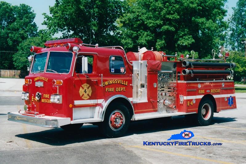 <center> RETIRED <br> Owingsville   Engine 4 <br> x-Northern Hills, OH <br> 1976 Pirsch 1500/750  <br> Greg Stapleton photo </center>