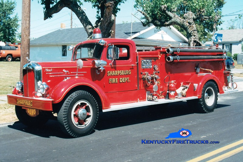 <center> NO LONGER IN SERVICE <br> Sharpsburg  Engine 3  <br> x-Williamstown, KY <br> 1952 Mack A 750/500 <br> Greg Stapleton photo </center>