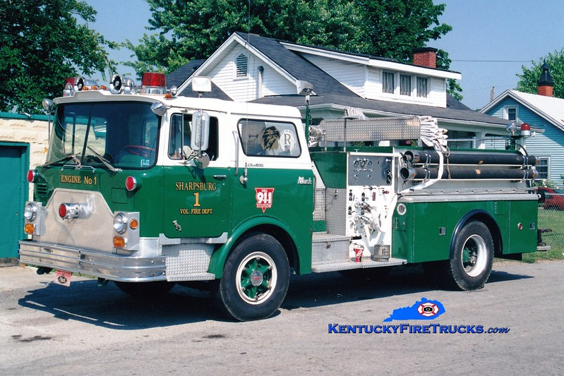 <center> NOW PRIVATELY OWNED <br> Sharpsburg  Engine 1  <br> x-Monroeville #1, PA <br> 1970 Mack CF 1000/500 <br> Greg Stapleton photo </center>