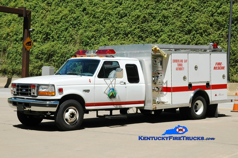 <center> Cumberland Gap Tunnel Authority  Unit 4  <br> 1996 Ford F-350/Alexis 500/300/30 <br> Greg Stapleton photo </center>
