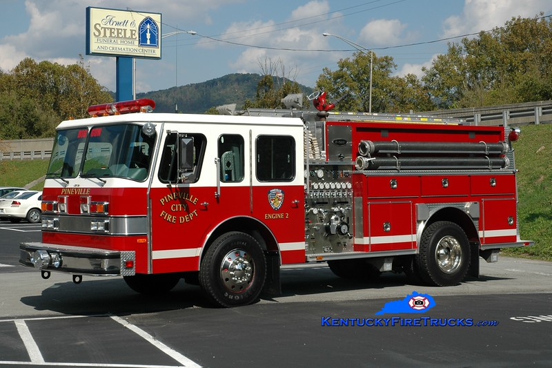 <center> Pineville  Engine 2  <br> x-Shelburne, VT <br> 1991 E-One Protector 1250/750 <br> Greg Stapleton photo </center>
