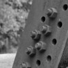 Close up of one of the legs of a high voltage power line structure, Falls Lake<br /> best print size - 8x12 or 12x18