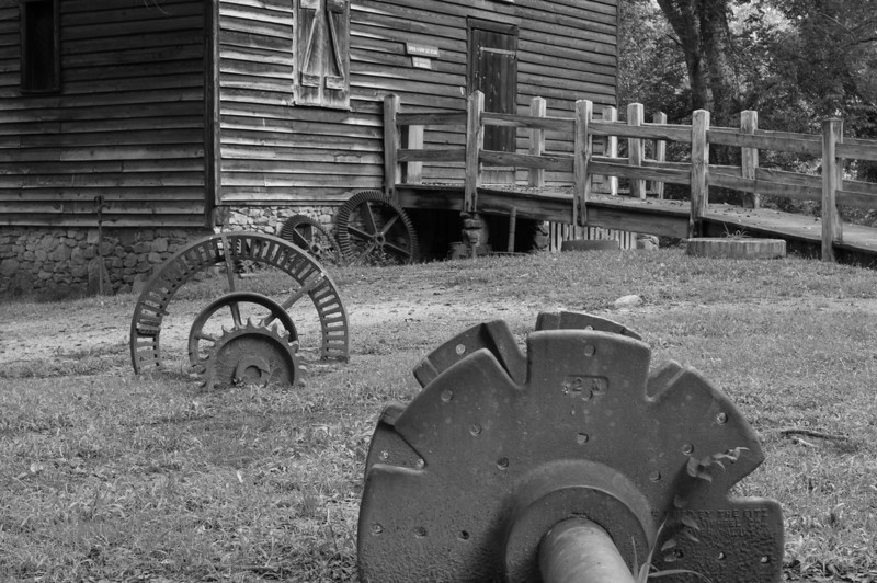 Mill Relics in Black and White - West Point on the Eno, Durham, NC<br /> best print size - 8x12 or 12x18