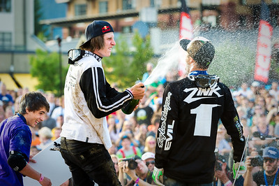 Brandon Semenuk (1st center), Cam Zink (2nd right) and Anthony Messere (3rd left) celebrate after  the Red Bull Joyride event in Whistler BC.