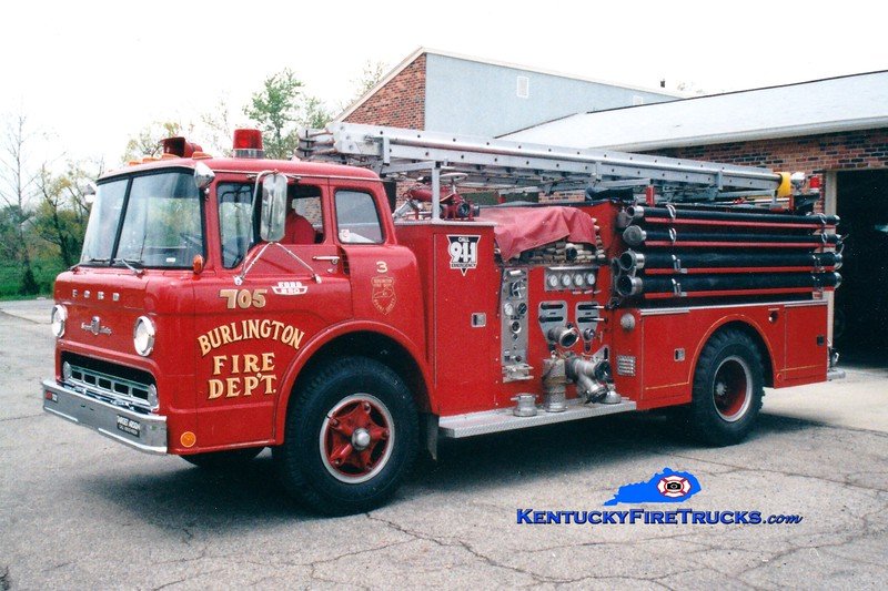 <center> RETIRED <br> Burlington  Engine 705 <br> 1968 Ford C/Ward LaFrance 1000/750 <br> Greg Stapleton photo </center>