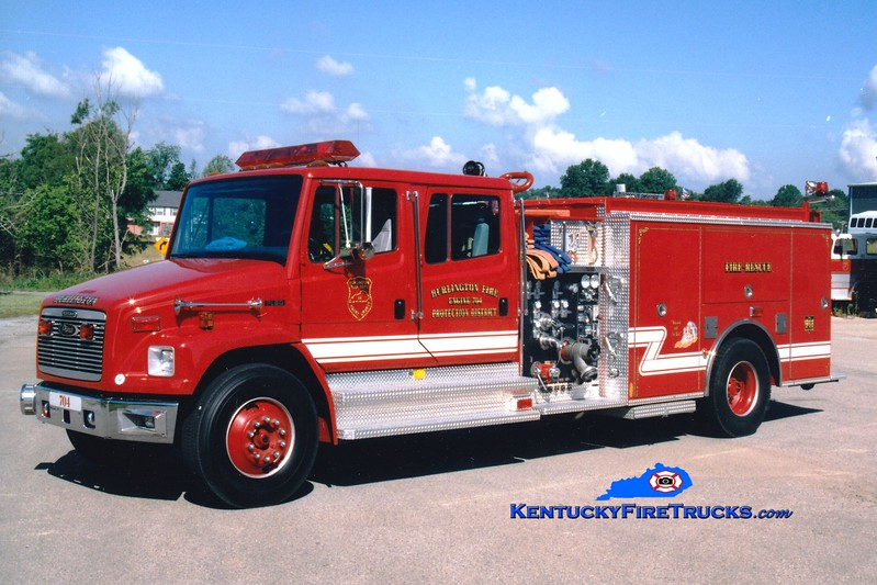 <center> Burlington  Engine 704 <br> 1997 Freightliner FL80/Pierce 1250/1000 <br> Greg Stapleton photo </center>