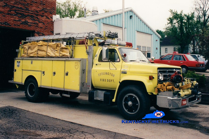 <center> RETIRED <br> Burlington  Engine 706 <br> 1979 GMC/Indiana 750/1000 <br> Greg Stapleton photo </center>