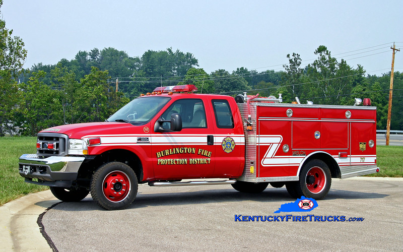 <center> RETIRED <br> Burlington  Brush 717 <br> 2003 Ford F-550 4x4/Welch 250/200 <br> Kent Parrish photo </center>