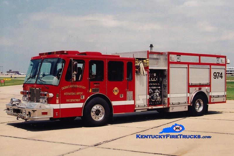<center> RETIRED <br> Cincinnati/Northern Kentucky International Airport Engine 974<br> 1994 Simon-Duplex/Ferrara 1500/500 <br> Greg Stapleton photo </center>