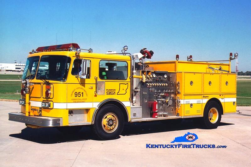 <center> RETIRED <br> Cincinnati/Northern Kentucky International Airport  Pumper 951<br> 1986 Seagrave HB 1500/1000/100 <br> Greg Stapleton photo </center>