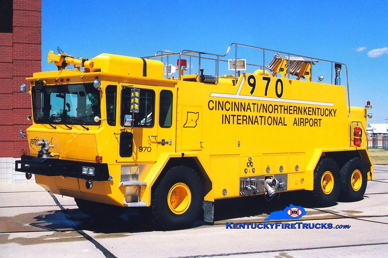 <center> RETIRED <BR> Cincinnati/Northern Kentucky International Airport  Crash 970 <br> 1990 Oshkosh T3000 1500/3000/500F/400DC <br> Greg Stapleton photo </center>