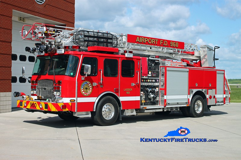 <center> Cincinnati/Northern Kentucky International Airport  Ladder 960 <br> 2012 E-One Cyclone II 1500/500/78'  <br> Kent Parrish photo </center>