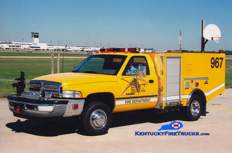 <center> RETIRED <BR> Cincinnati/Northern Kentucky International Airport  Unit 967 <br> 1996 Dodge Ram 3500 4x4/Ferrara 400DC/100F <br> Greg Stapleton photo </center>