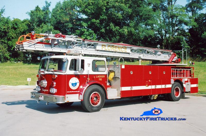 <center> RETIRED <br> Florence  Ladder 110 <br> 1974 Seagrave SR/Summit 100' <br> Kent Parrish photo </center>