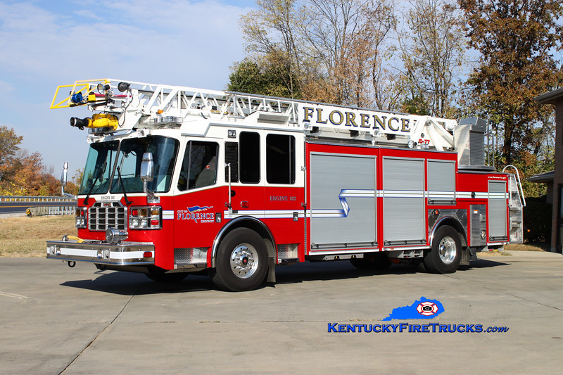<center> REASSIGNED <br> Florence  Engine 102 <br> 2010 Ferrara Inferno 1500/500/CAFS-30/77' <br> Kent Parrish photo </center>