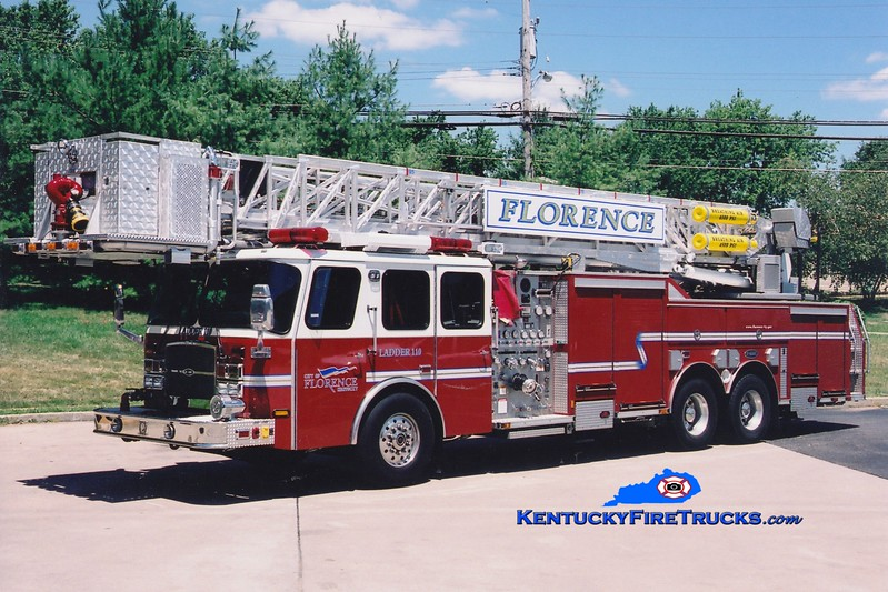 <center> REASSIGNED <br> Florence  Ladder 110 <br> 2005 E-One Cyclone II 2000/300/95'  <br> Greg Stapleton photo </center>