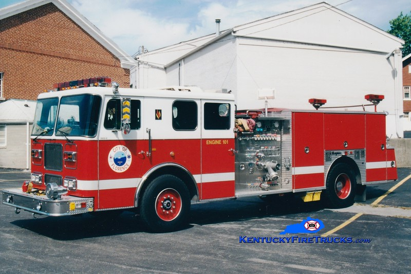 <center> Florence  Reserve Engine 104 <br> x-Engine 101 <br> 1993 Seagrave Marauder 1500/500 <br> Greg Stapleton photo </center>