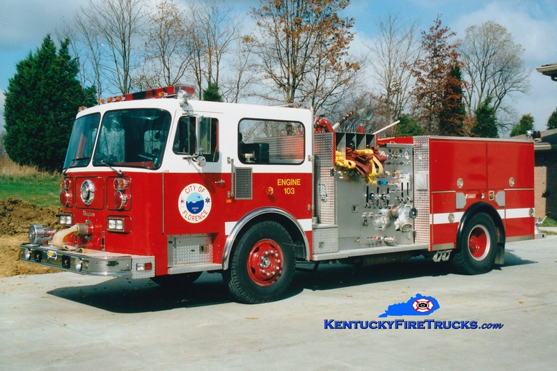 <center> RETIRED <br> x-Engine 102  Florence  Engine 103 <br> 1983 Seagrave HB 1250/500 <br> Greg Stapleton photo </center>