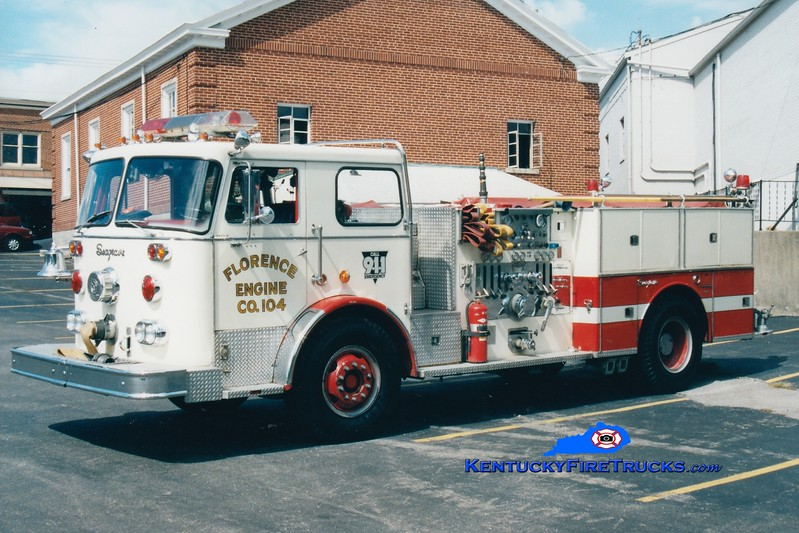 <center> RETIRED <br> Florence  Engine 104 <br> 1976 Seagrave PB 1500/500 <br> Greg Stapleton photo </center>