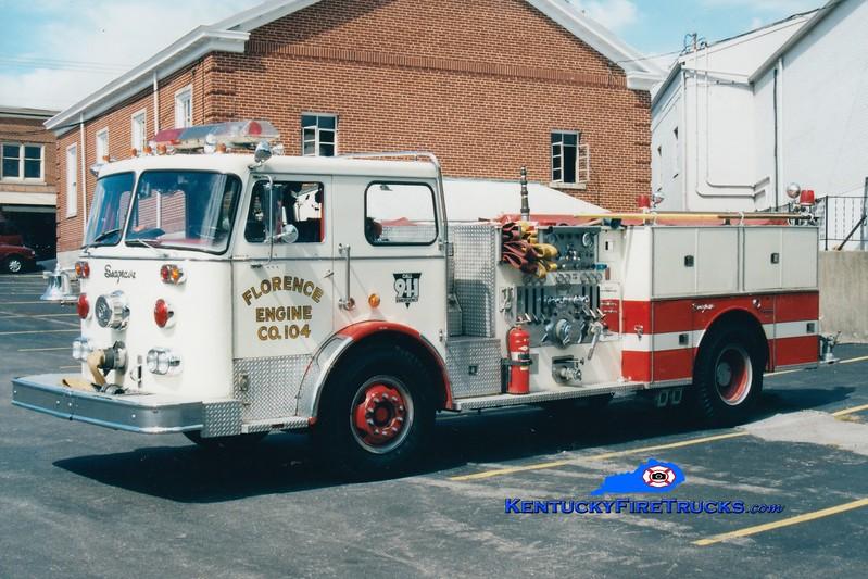 <center> RETIRED <br> Florence  Engine 104 <br> 1976 Seagrave PB 1500/500 <br> Greg Stapleton photo </center>