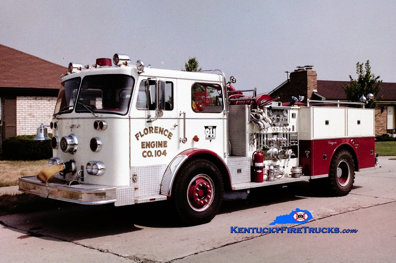 RETIRED<br /> Florence Engine 104<br /> 1976 Seagrave PB 1500/500<br /> Greg Stapleton photo
