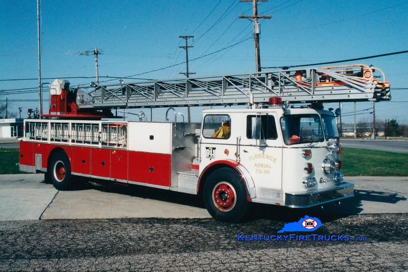 <center> RETIRED <br> Florence  Ladder 110 <br> 1974 Seagrave SR 100' <br> Greg Stapleton photo </center>