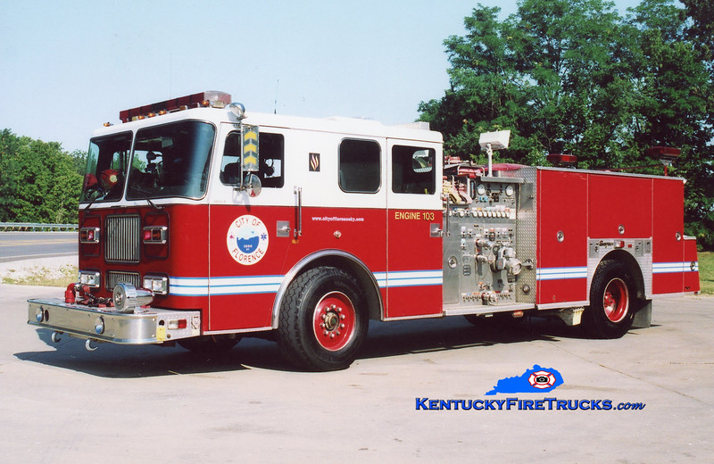 <center> RETIRED <br> Florence  Engine 103 <br> x-Engine 102 <br> 1993 Seagrave Marauder 1500/500 <br> Kent Parrish photo </center>