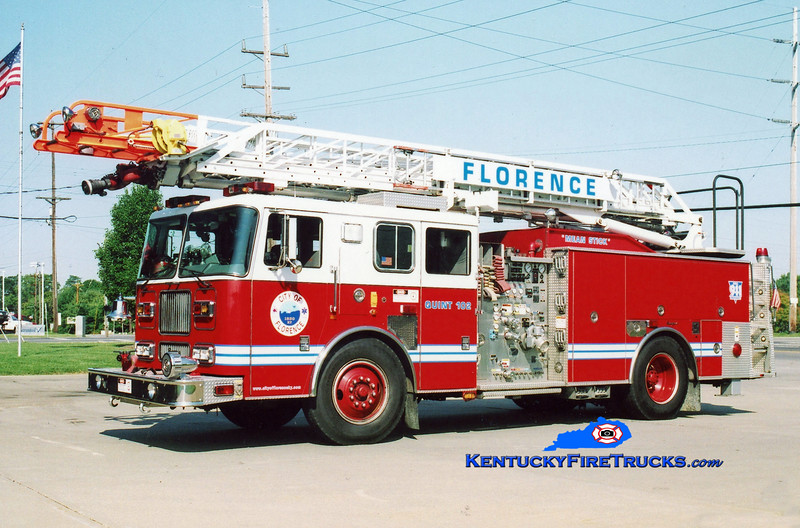 <center> RETIRED <br> Florence  Quint 102 <br> 2001 Seagrave Marauder 2000/500/75' <br> Kent Parrish photo </center>