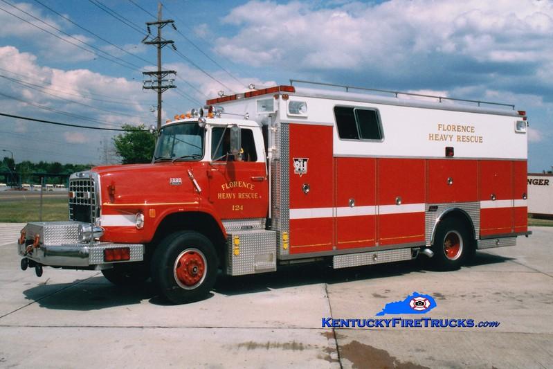 <center> RETIRED <br> Florence  Rescue 124 <br> 1988 Ford LS/Saulsbury <br> Greg Stapleton photo </center>