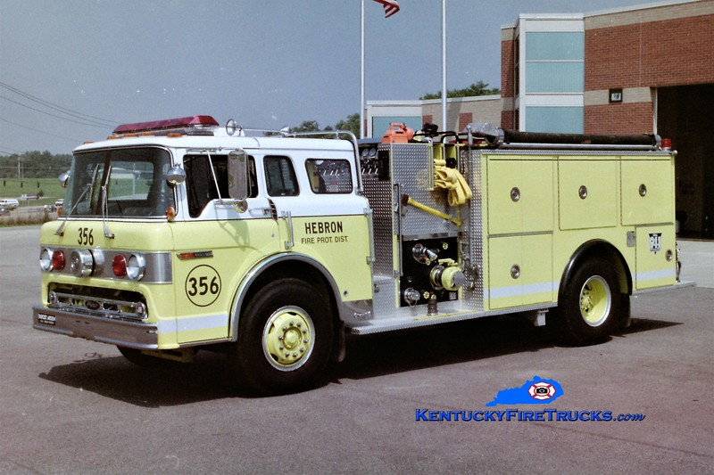 RETIRED<br /> Hebron Engine 356<br /> 1986 Ford C-8000/Pierce 1250/750<br /> Greg Stapleton photo