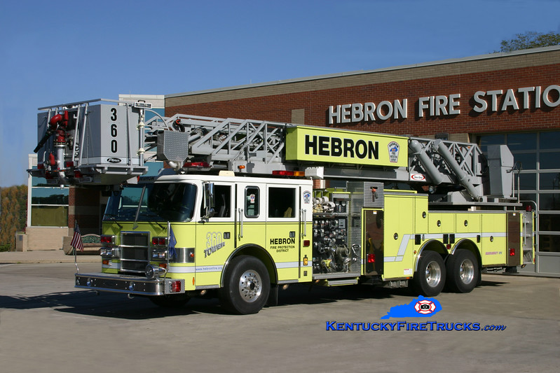 <center> Hebron  Tower 360 <br> 1999 Pierce Dash 2000/150/100' Sky Arm <br> Kent Parrish photo </center>