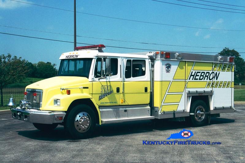 <center> RETIRED <br> Hebron  Rescue 374 <br> 1994 Freightliner FL70/Summit  <br> Greg Stapleton photo </center>