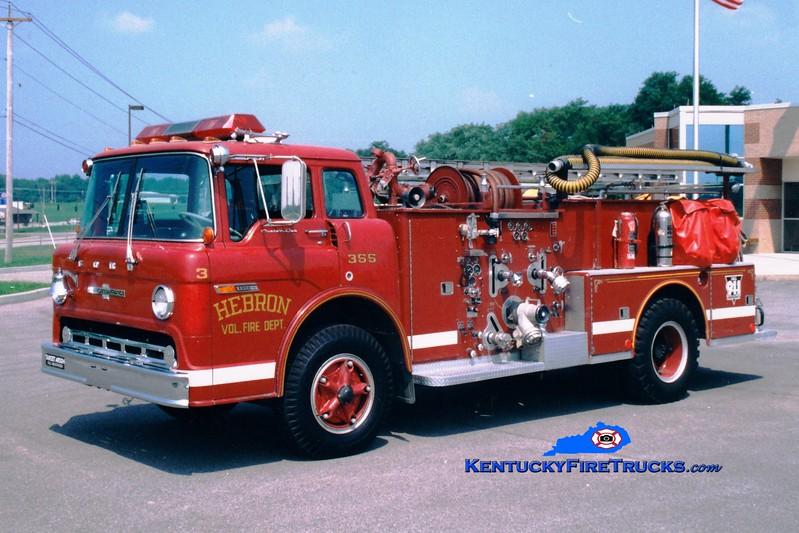 <center> RETIRED <br> Hebron  Engine 355 <br> 1971 Ford C-800/American LaFrance 1250/500 <br> Greg Stapleton photo </center>
