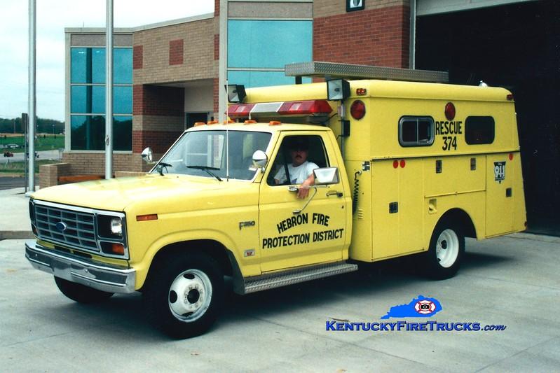 <center> RETIRED <br> Hebron  Rescue 374 <br> 1986 Ford F-350/Reading <br> Greg Stapleton photo </center>