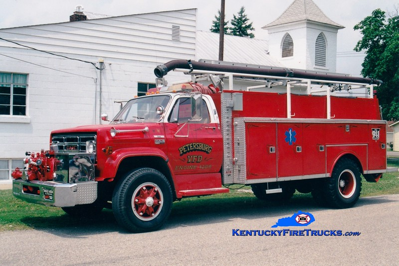 <center> RETIRED <br> Petersburg  Engine 1206 <br> x-Burlington, KY <br> 1979 GMC/Indiana 750/1000 <br> Greg Stapleton photo </center>