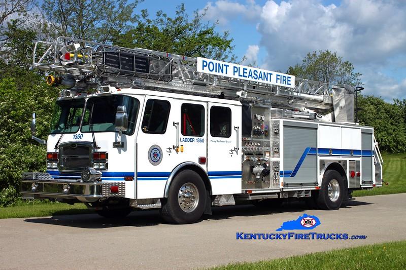 <center> Point Pleasant  Ladder 1360 <br> 2012 E-One Typhoon 1500/450/50/78' <br> Kent Parrish photo </center>