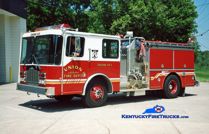 <center> RETIRED <br> Union  Engine 653 <br> x-Engine 651 <br> 1991 HME/Grumman Panther II 1500/1000  <br> Kent Parrish photo </center>