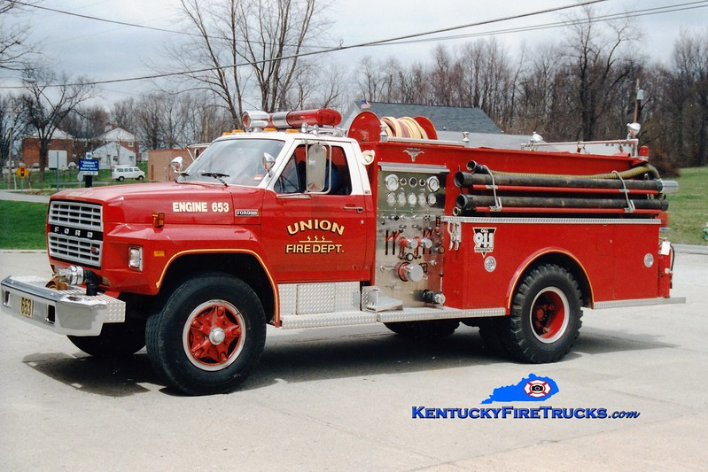 <center> RETIRED <br> Union  Engine 653 <br> 1981 Ford F-700/Allegheny 750/750 <br> Greg Stapleton photo </center>