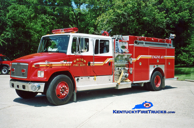 <center> Reassigned as Engine 653 <br> Union  Engine 651 <br> 1997 Freightliner FL80/E-One 1250/500  <br> Kent Parrish photo </center>