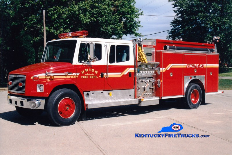 <center> Union  Engine 653 <br> x-Engine 651 <br> 1997 Freightliner FL80/E-One 1250/500  <br> Greg Stapleton photo </center>