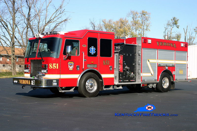 <center> Verona  Engine 851 <br> 2009 KME Panther 1500/980/20  <br> Kent Parrish photo </center>